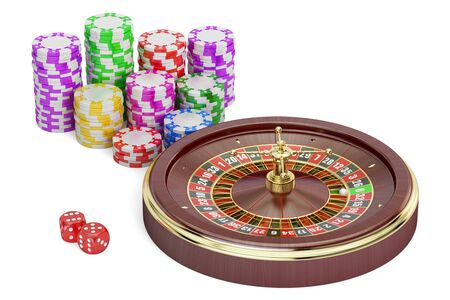 Casino, gambling and entertainment concept. 3D rendering isolated on white background