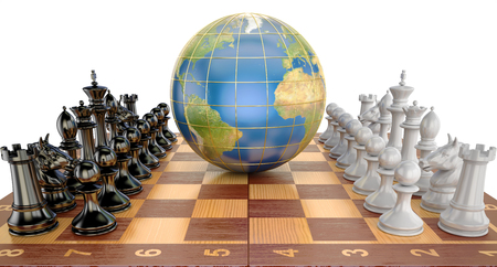 Global tactical and strategy concept, world globe with chess pieces. 3D rendering Standard-Bild