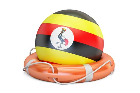 Lifebelt with Uganda flag, safe, help and protect concept. 3D rendering Stock Photo