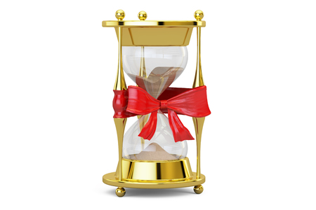 Hourglass with bow and ribbon, gift concept. 3D rendering isolated on  white background