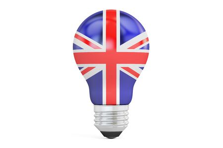 Light bulb with UK flag, 3D rendering isolated on  white background