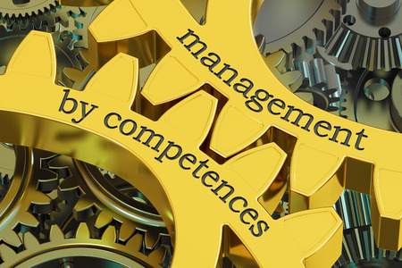 management by competences concept on the gearwheels, 3D rendering