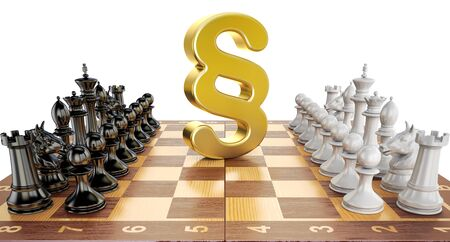 Section symbol on chess board with figures. Law chess concept, 3D rendering Stock Photo