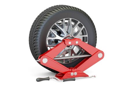Car wheel with red screwjack, 3D rendering isolated on white background