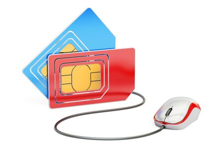 Sim card with computer mouse, online tech support and service from mobile operator. 3D rendering Stock Photo