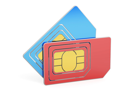 SIM cards, 3D rendering isolated on white background
