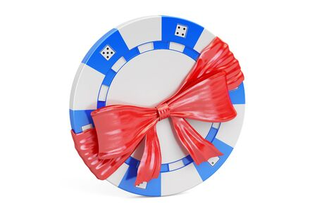 Casino token with bow and ribbon, gift concept. 3D rendering isolated on  white background