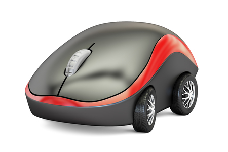 input device: Computer Mouse with car wheels, 3D rendering isolated on white background