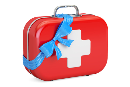 First Aid Kit with bow and ribbon, gift concept. 3D rendering isolated on white background Stock Photo