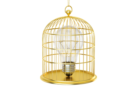 enclose: Birdcage with a lightbulb inside, 3D rendering isolated on white background