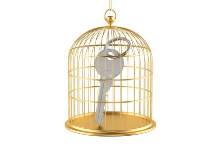 Birdcage with key inside, 3D rendering isolated on white background