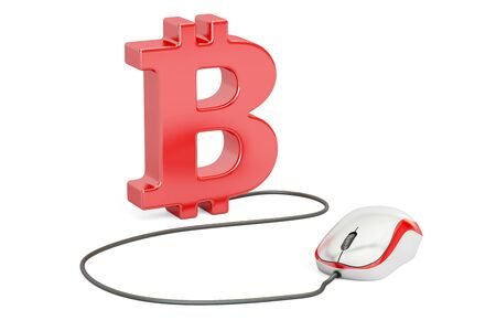 earn money: Bitcoin symbol with computer mouse. Make money online concept, 3D illustration