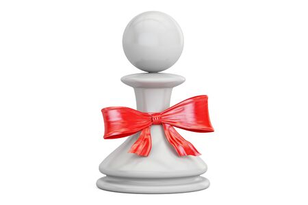 Chess pawn with bow and ribbon closeup, gift concept. 3D rendering