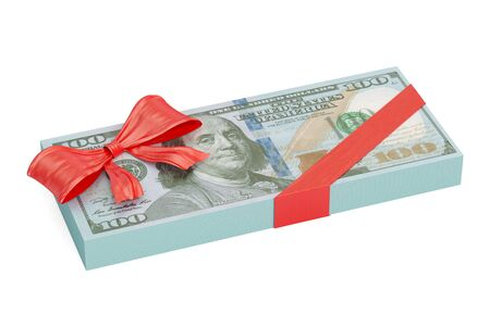 Dollar pack with red bow, gift concept. 3D rendering
