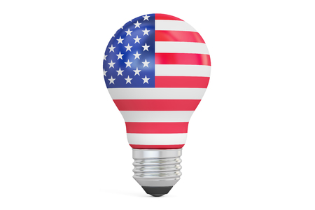 Light bulb with USA flag, 3D rendering isolated on  white background