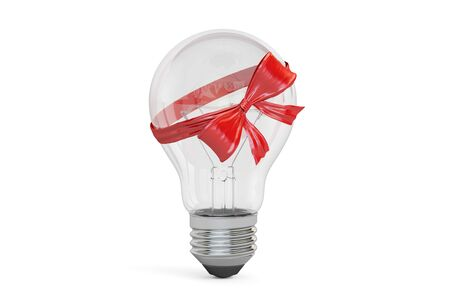 Lightbulb with bow and ribbon, gift concept. 3D rendering Stock Photo