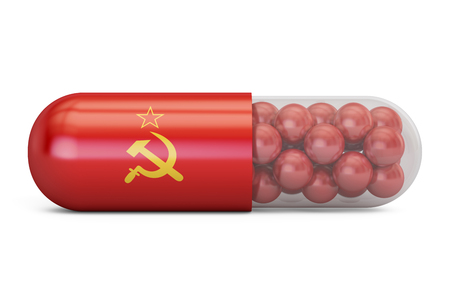 Pill capsule with Soviet Union flag. USSR health care concept, 3D rendering