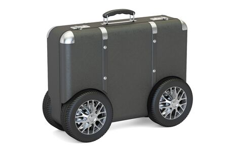 Suitcase with car wheels. Travel and tourism concept, 3D rendering isolated on white background Stock Photo