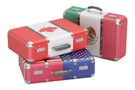 canadian flag: Travel concept, suitcases with flags of USA, Canada and Mexico. 3D rendering Stock Photo