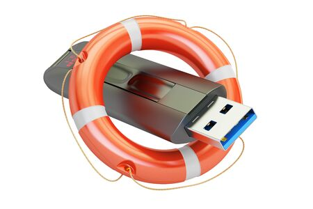 USB flash drive with lifebuoy, safety concept. 3D rendering isolated on white background