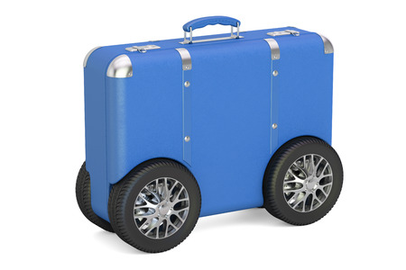 Blue suitcase with car wheels. Travel and tourism concept, 3D rendering isolated on white background