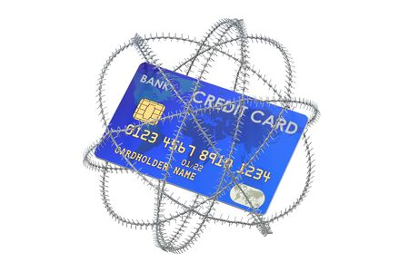 Credit card with barbed wire, 3D rendering isolated on white background