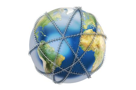 Earth globe with barbed wire, 3D rendering