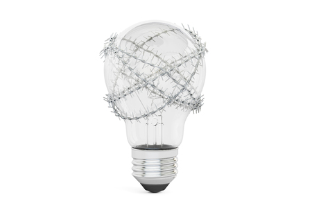 gaol: Lightbulb with barbed wire. Freedom of Idea prohibition concept, 3D rendering isolated on white background