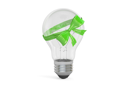 Lightbulb with green bow and ribbon, gift concept. 3D rendering