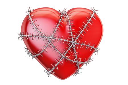 Rood hart met prikkeldraad, 3D-rendering geïsoleerd op een witte achtergrond Stockfoto