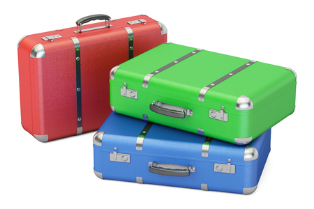 Set of colorful travel suitcases, 3D rendering isolated on white background