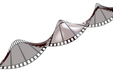 Twisted empty film strip, 3D rendering isolated on white background