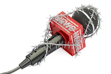 Freedom of press prohibition concept. Microphone with barbed wire, 3D rendering isolated on white background