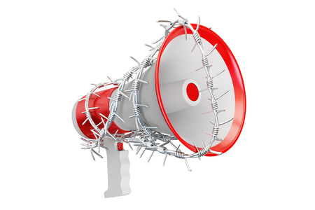 trapped: Freedom of speech prohibition concept. Megaphone with barbed wire, 3D rendering isolated on white background Stock Photo