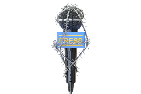Freedom of the press prohibition concept. Microphone with barbed wire, 3D rendering Stock fotó
