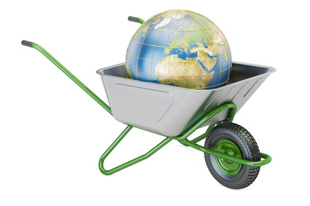 Garden wheelbarrow with Earth Globe, 3D rendering isolated on white background