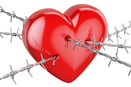 wire: Heart pierced with barbed wire, 3D rendering isolated on white background Stock Photo