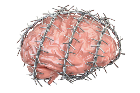 gaol: Human Brain with barbed wire. Freedom of thought prohibition concept, 3D rendering isolated on white background Stock Photo