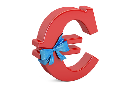 Euro symbol with bow and ribbon closeup, gift concept. 3D rendering