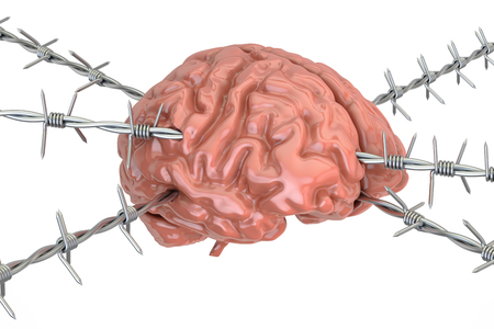 smart: Human Brain pierced with barbed wire, 3D rendering isolated on white background