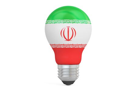 on the comprehension: Light bulb with Iran flag, 3D rendering isolated on  white background Stock Photo