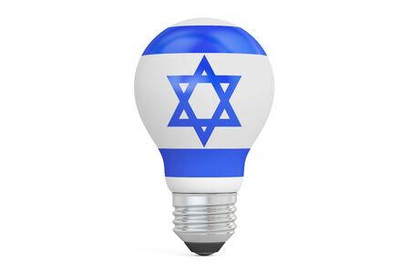 on the comprehension: Light bulb with Israel flag, 3D rendering isolated on  white background