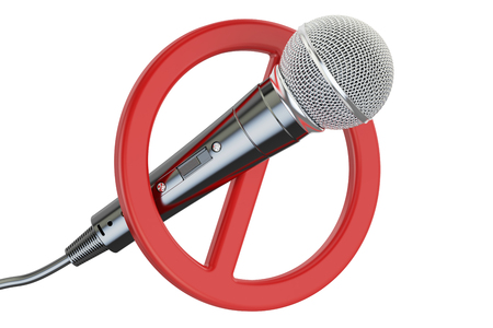 Microphone with forbidden symbol, 3D rendering isolated on white background