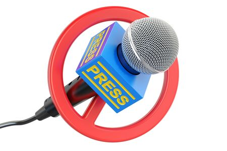Press prohibition concept. Microphone with forbidden symbol, 3D rendering isolated on white background