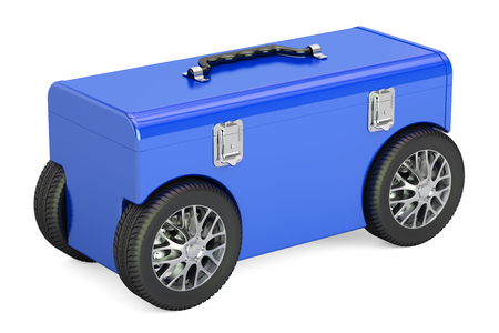 Blue toolbox on car wheels, 3D rendering isolated on white background