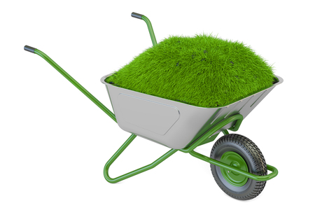 Garden wheelbarrow with soil and green grass, 3D rendering isolated on white background