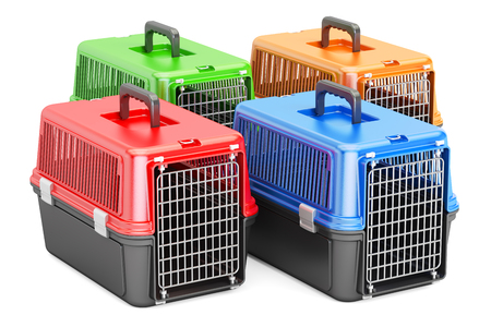 Pet travel plastic cages, 3D rendering isolated on white background Stock Photo