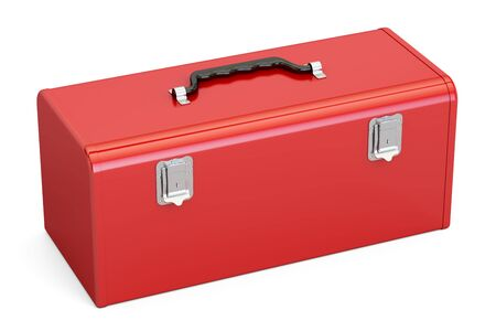 Red Toolbox, 3D rendering isolated on white background