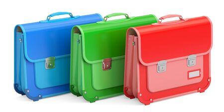 Set schooltassen, koffers. 3D-rendering geïsoleerd op een witte achtergrond Stockfoto