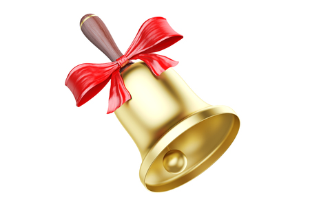 Gold school bell with red bow, 3D rendering isolated on white background